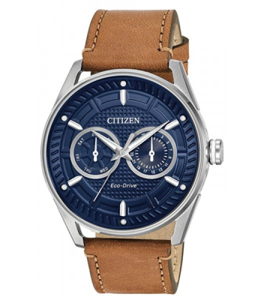 Citizen Eco-Drive Mens Brown Leather Band Blue Dial Watch