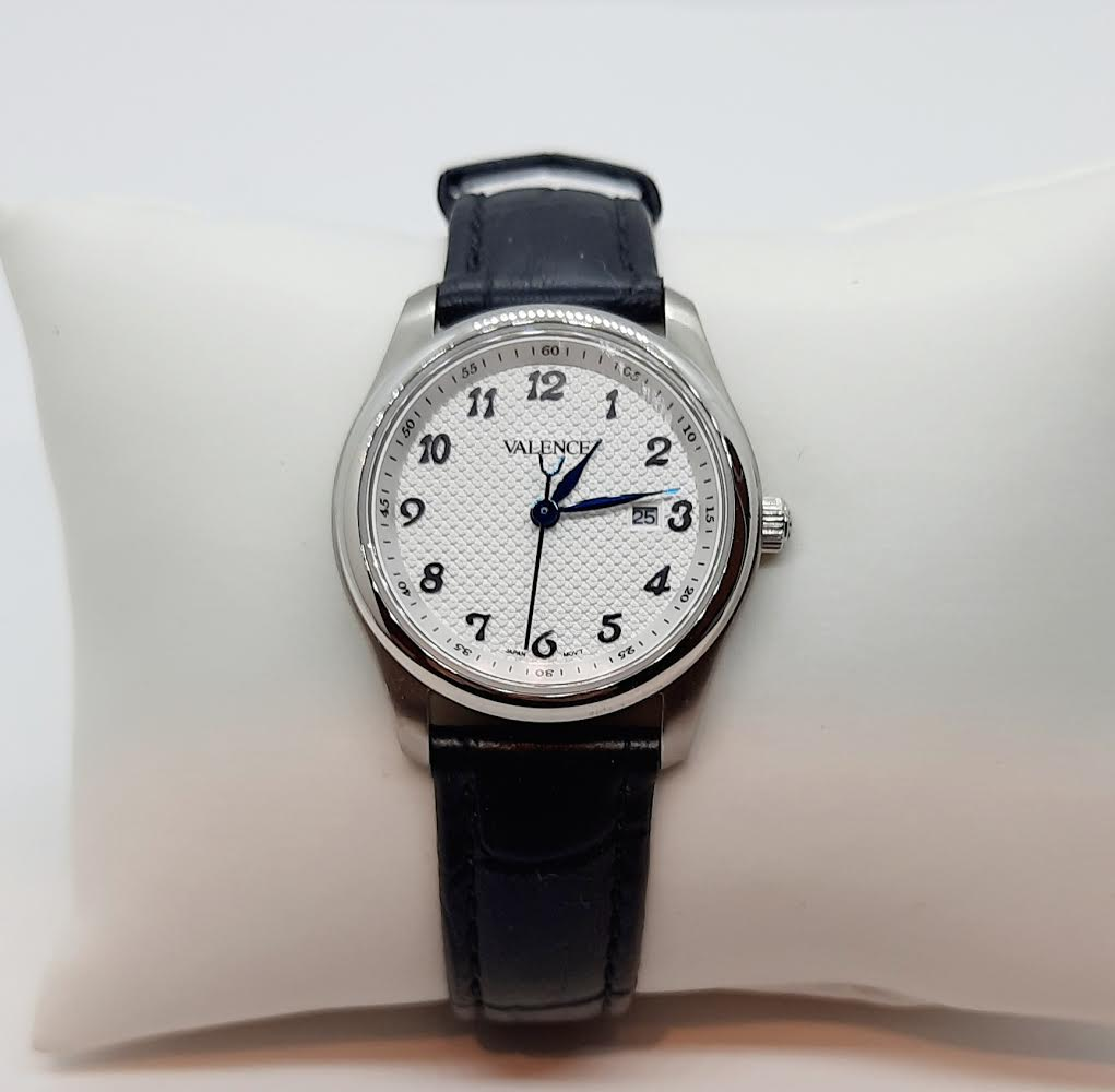 VALENCE Black Leather Sapphire Glass White face Watch