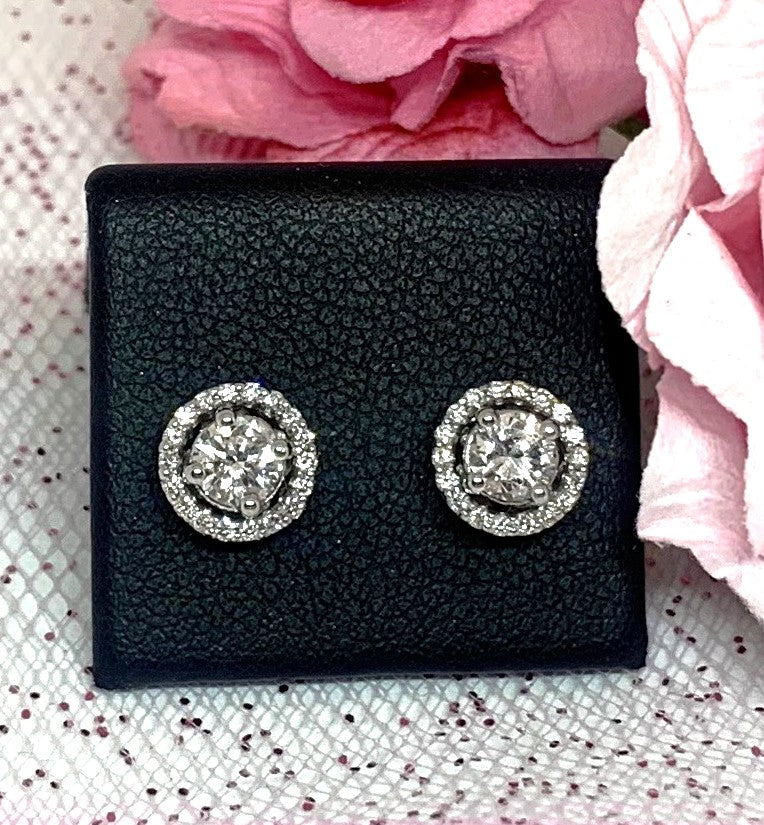 14KW Gold 0.80 ct Diamond Halo Stud Earrings