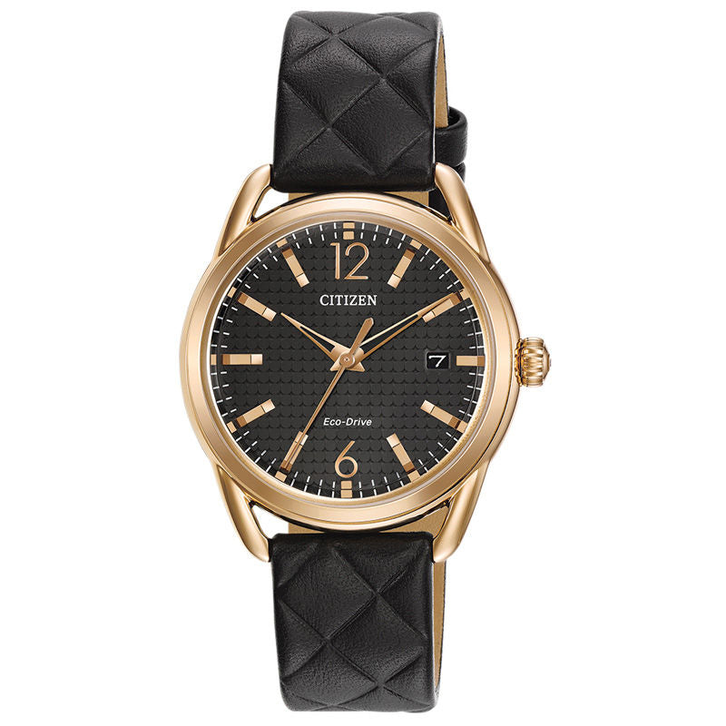 CITIZEN Eco Drive Black Rose-Gold S Steel Watch