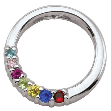 Circle Family Pendant, 3-7 multi-color birthstones