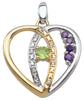 Heart-Shaped Family Pendant, 3-7 birthstones