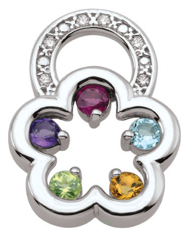 Flower Shaped Family Pendant 3-5 birthstones