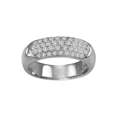 14K White Gold Pave Diamond Anniversary Band
