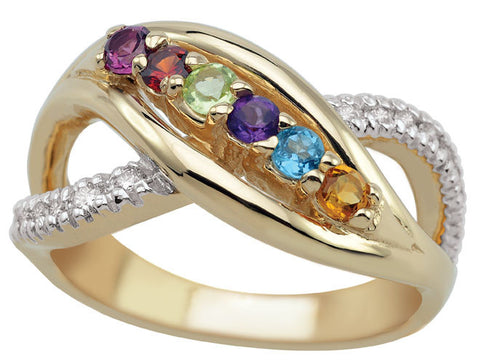 Bypass Family Ring with 3-7 birthstones