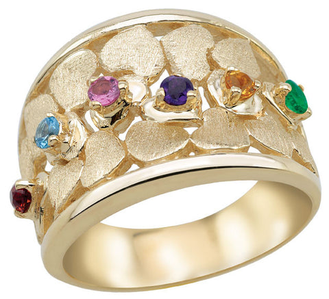Wide Band Family Ring 3-7 birthstones