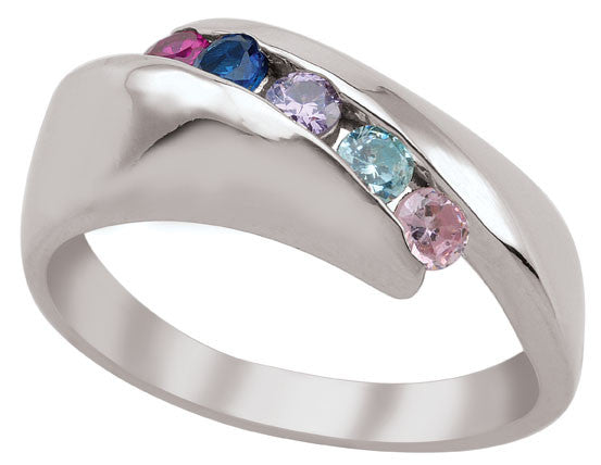 Diagonal Channel Set Family Ring with 3- 5 birthstones