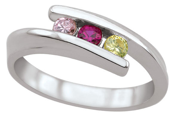 Diagonal Channel Set Family Ring, 3-5 Round Stones