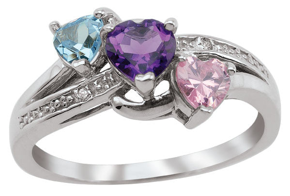 Heart-Shaped Stone Family Ring with 3 birthstones