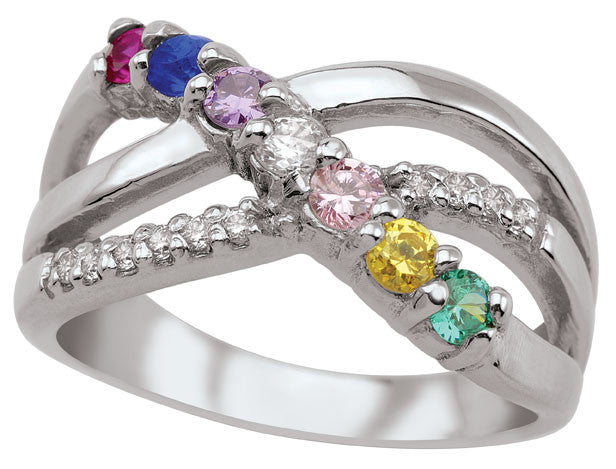 Bypass Family Ring, 3-7 Round birthstones