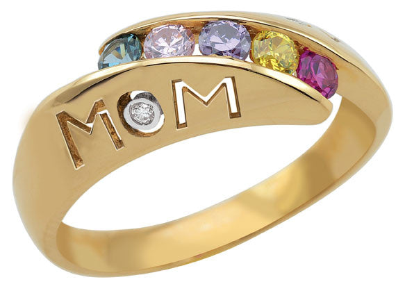 "Diagonal Channel Set ""Mom"" Family Ring with 3-5 birthstones"
