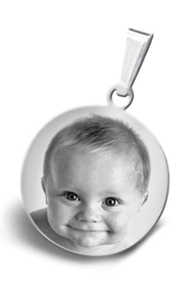 Personalized Photo Engraved Small Circle Pendant