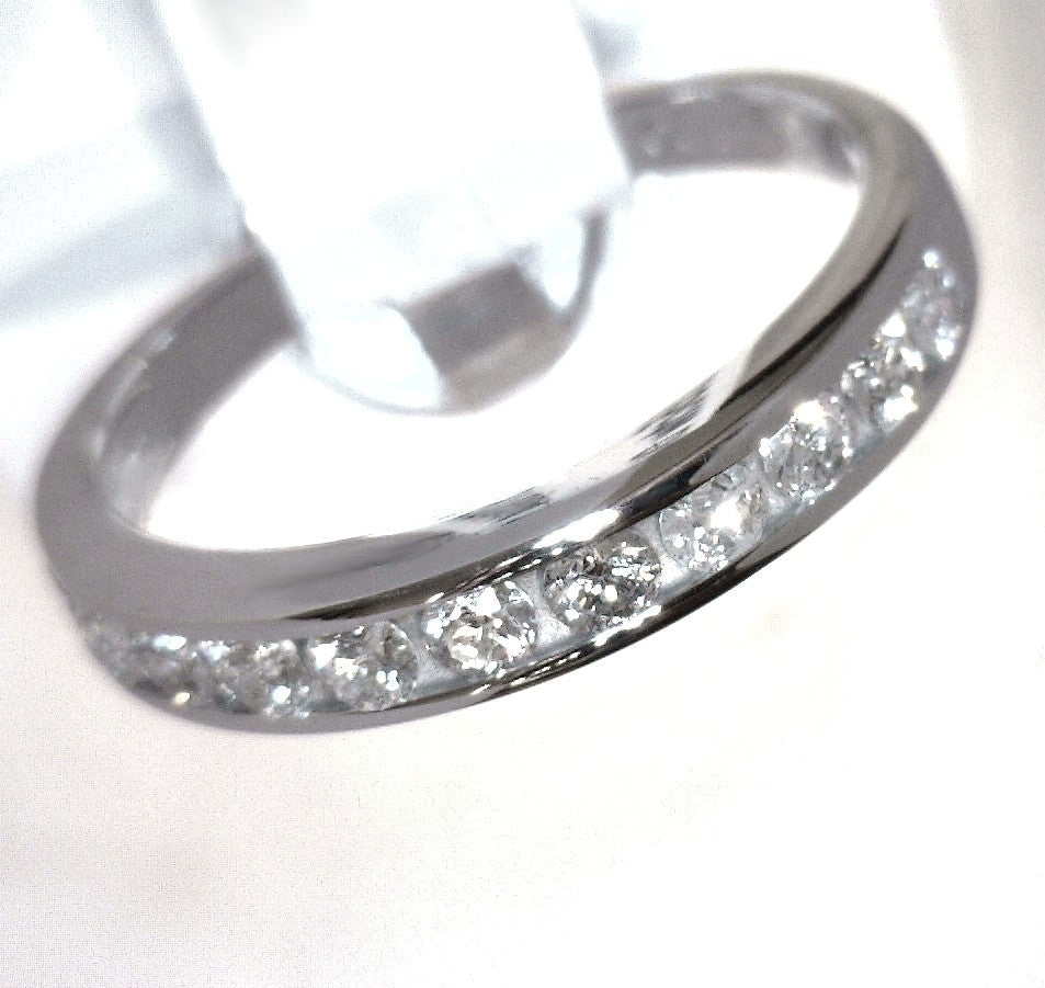 14K White Gold 0.55 CTW Diamond Half Eternity Ring w/ Certificate