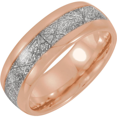 Tungsten & 18K Rose Gold PVD Band with Imitation Meteorite Inlay