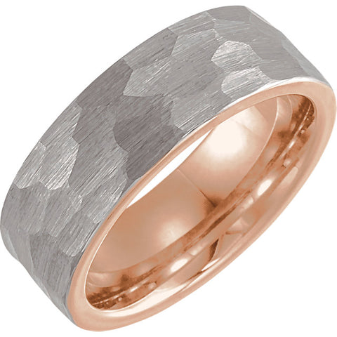 Tungsten & 18K Rose Gold Unisex 6mm Band with Hammered Finish Size 6 -14