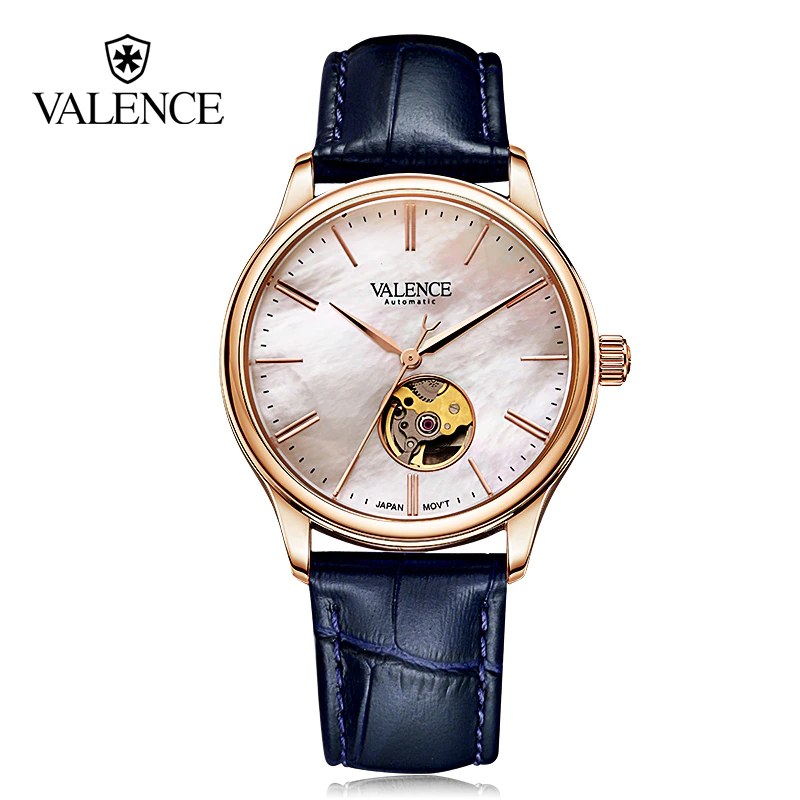 VALENCE Leather Sapphire glass MOP Watch