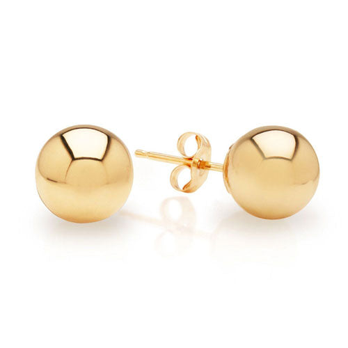 14K Yellow or White Gold Ball Stud Earrings