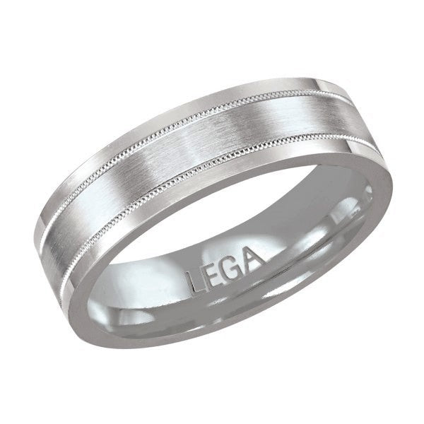10K White Gold 6 mm Wedding Band Men's Ring
