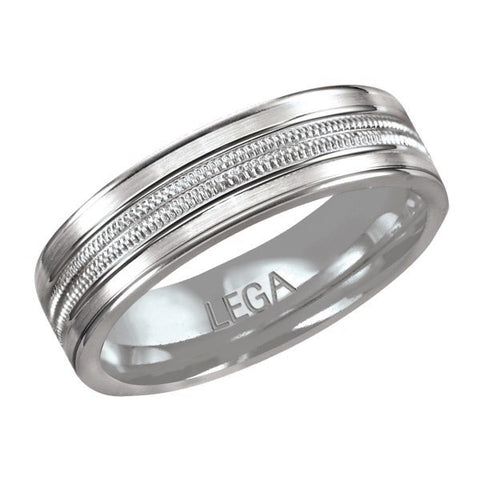 10K White Gold 6 mm Wedding Band Comfort Fit Ring