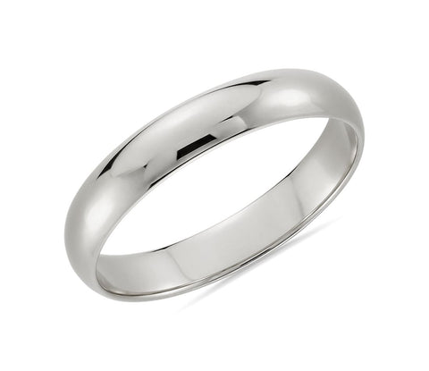 10K White Gold Band Classic Wedding Ring (4mm)