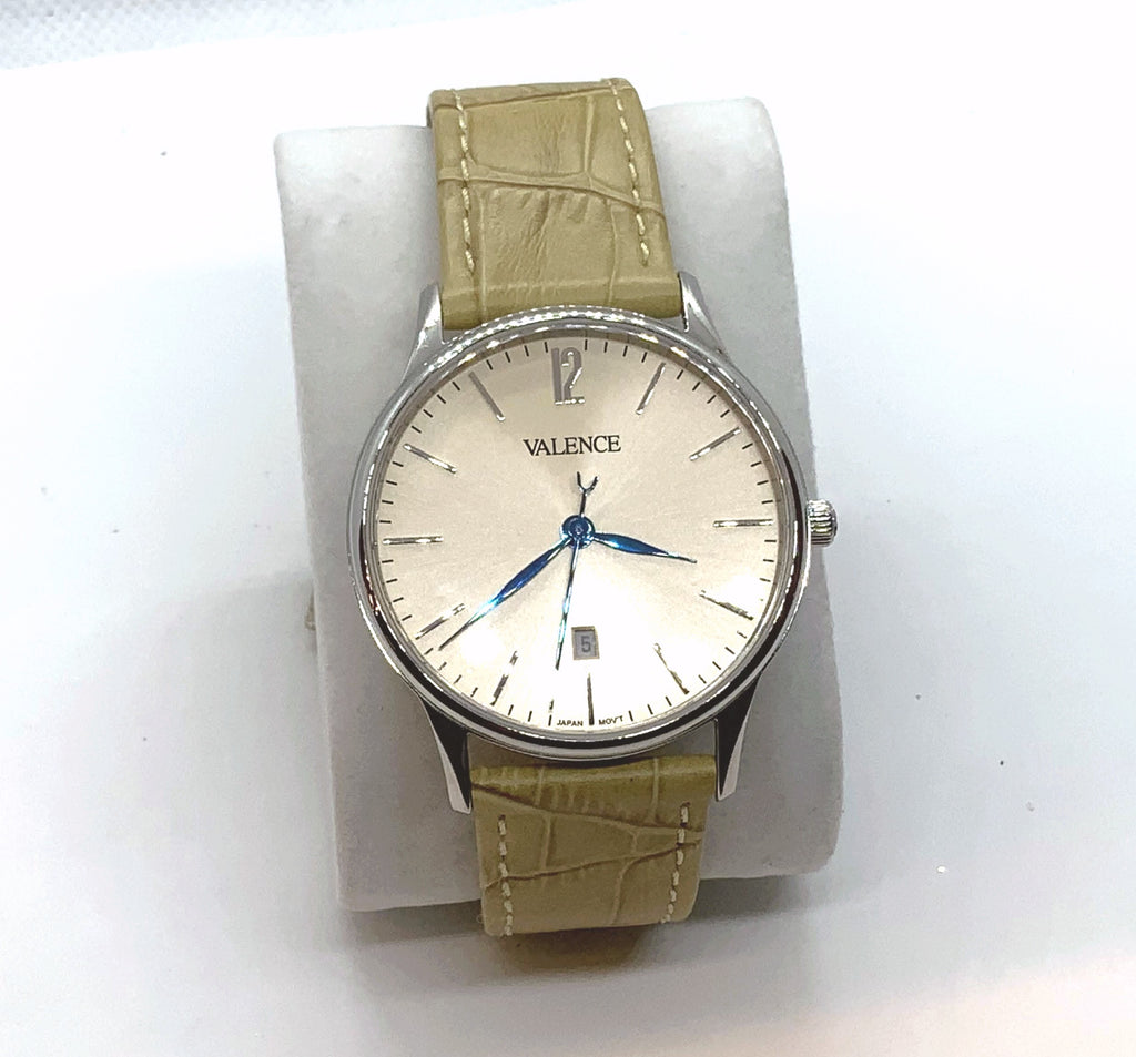 VALENCE Leather Beige Sapphire glass Watch