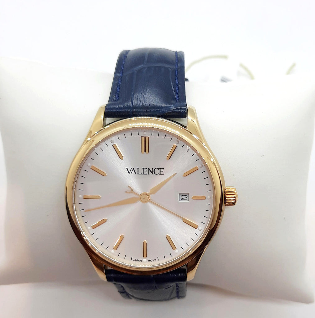 VALENCE Navy Leather Sapphire glass Watch