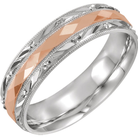 14K Two Tone Gold 6mm Design-Engraved Milgrain Comfort Fit Band Ring