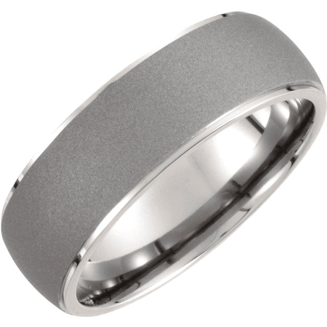 Titanium 7.5mm Oxidized Center Rounded Band Ring