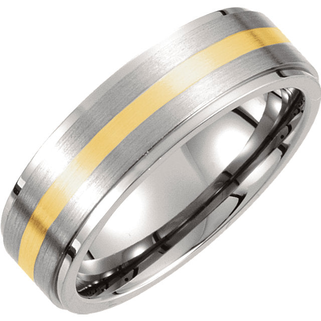 Titanium & 14K Yellow Inlay 7mm Ridged & Satin Finished Band