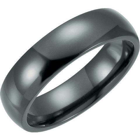 Black Titanium 6mm Domed Polished Band Ring