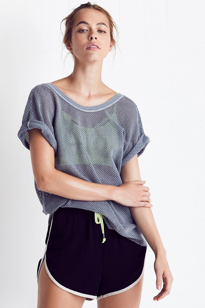Hot Stuff Mesh Tee - Dark Grey