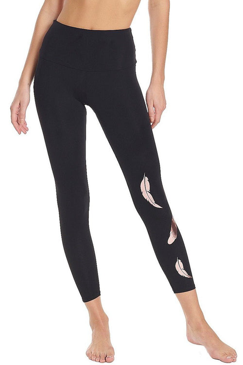 Foil Legging - Rose Gold Feather - Onzie | INFLOWSTYLE