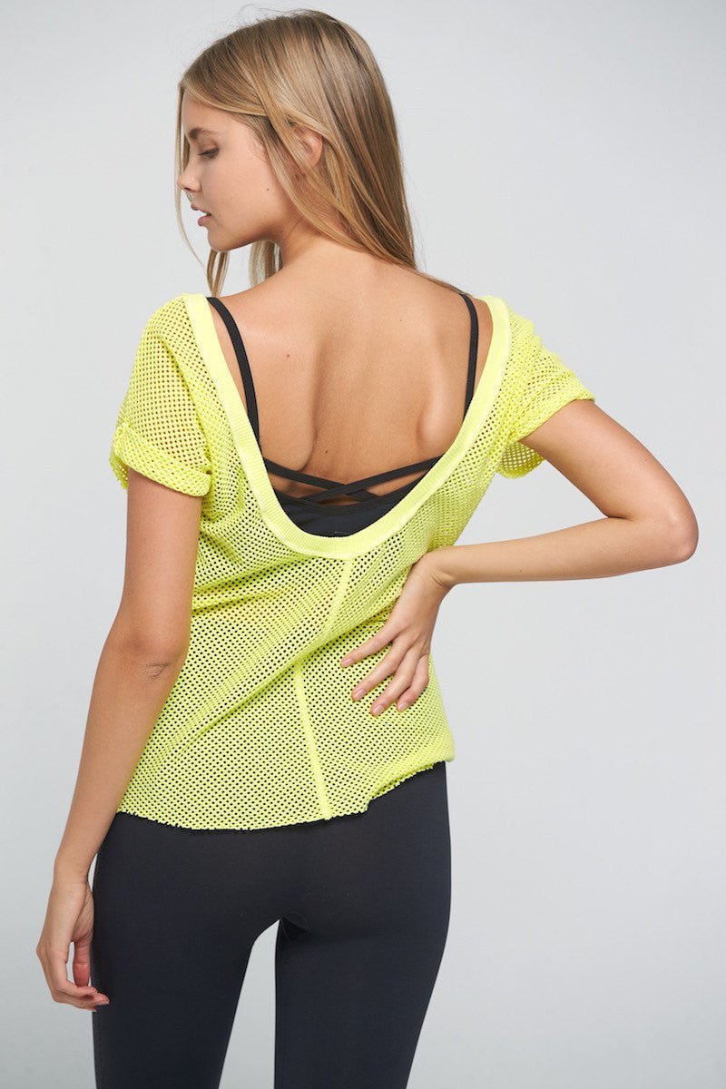 Hot Stuff Mesh Tee - Yellow - Free People | INFLOWSTYLE
