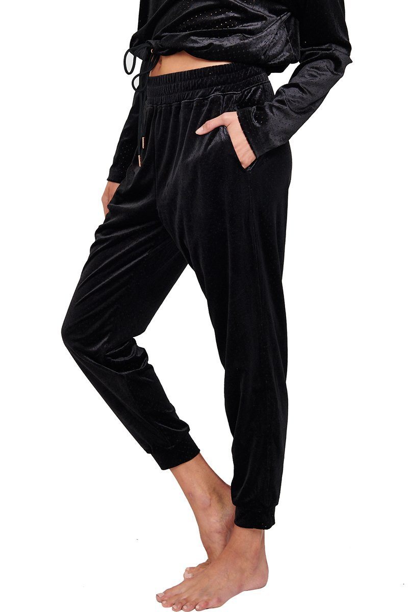 Velour Crop Pant - Black