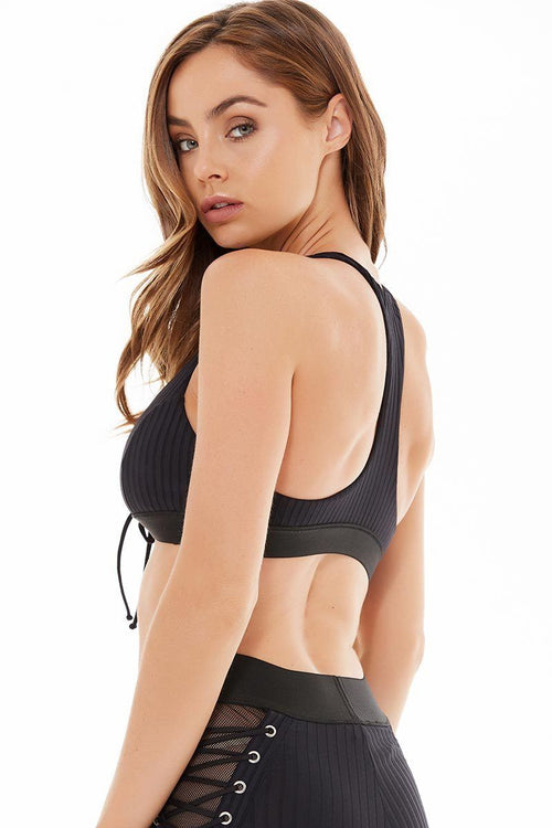 Tied Up Racerback Bra - Blue Life Fit | INFLOWSTYLE