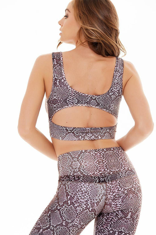 Carson Crop - Taupe Snake - Varley | INFLOWSTYLE