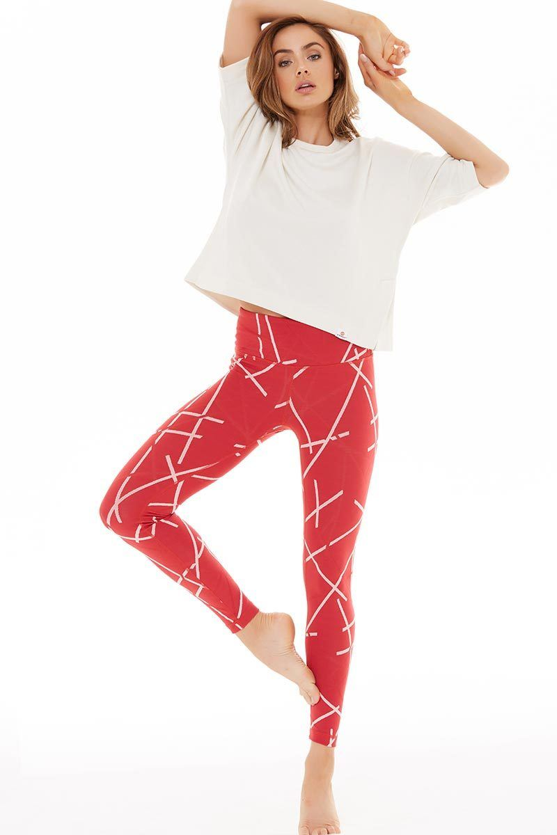 Hatch Jaquard Legging - Red - Vimmia | INFLOWSTYLE