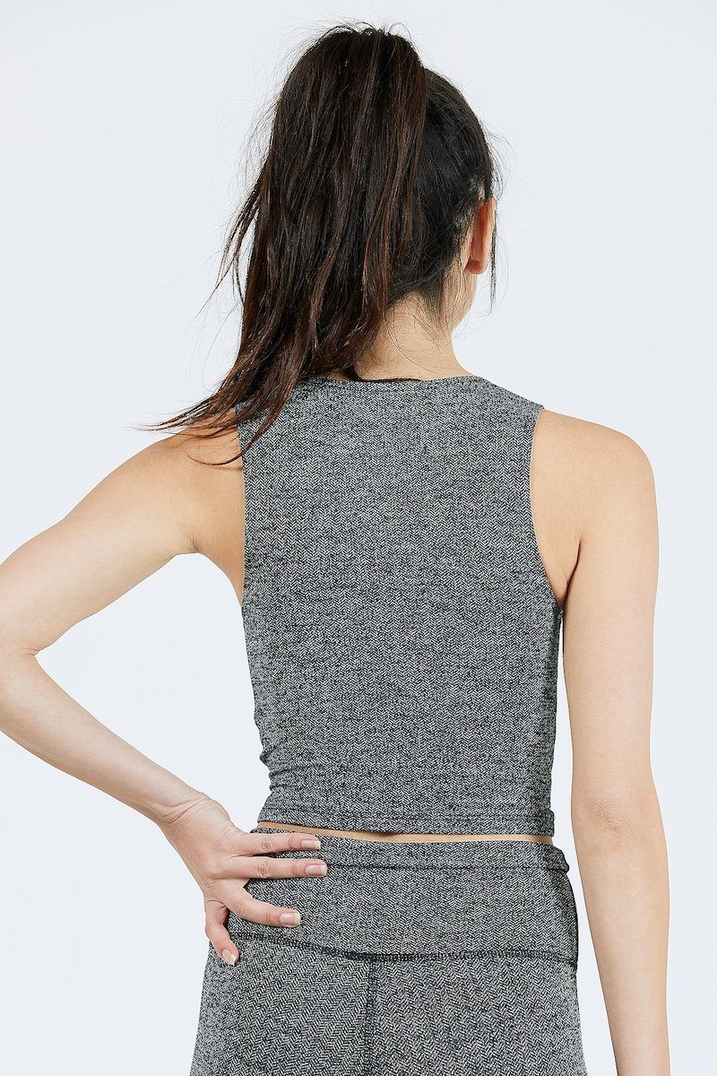 Marathon Crop - Herringbone Black