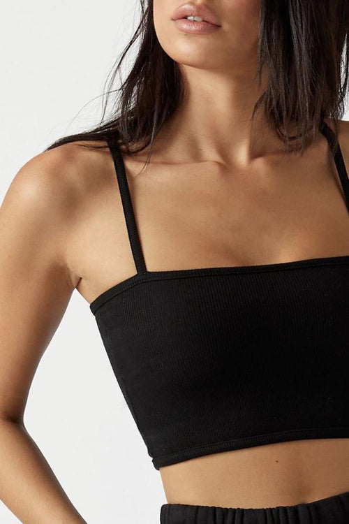 Cropped Cami - Black FlexRib - Joah Brown | INFLOWSTYLE