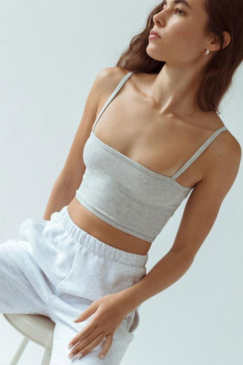 Cropped Cami - Pearl Grey FlexRib - Joah Brown | INFLOWSTYLE
