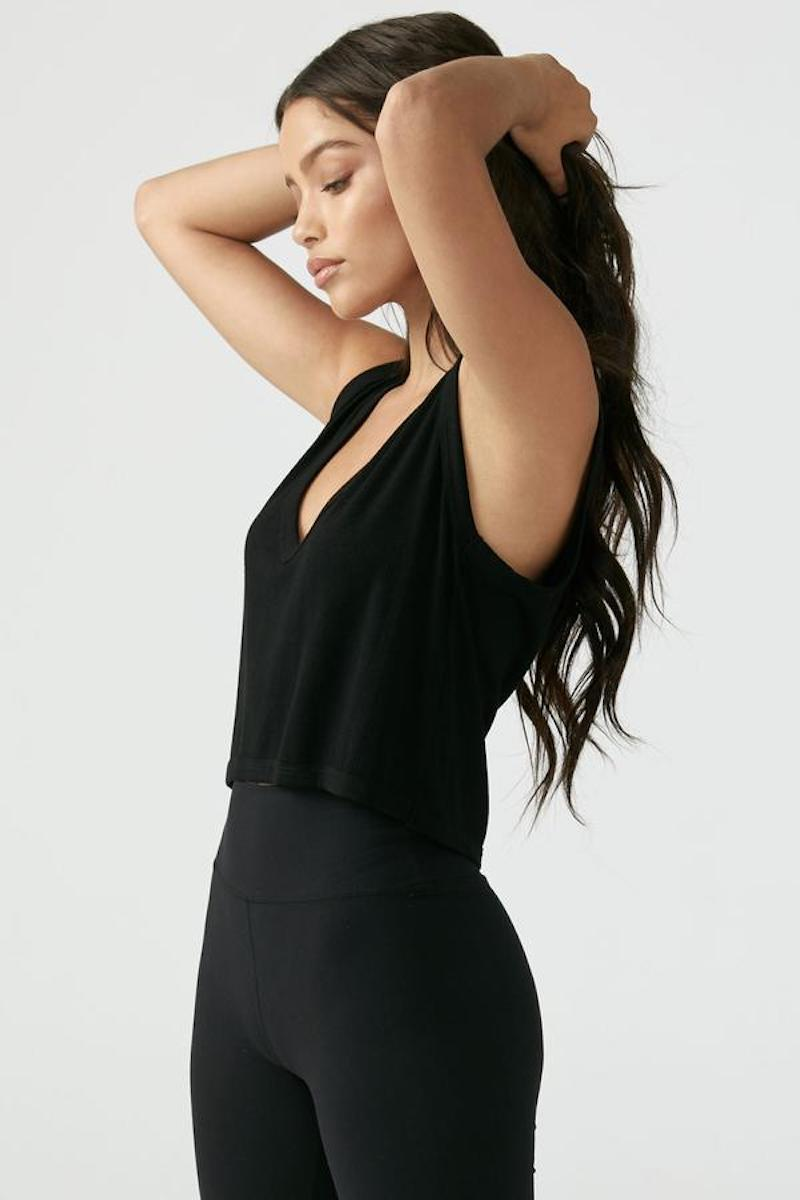 Deep V Crop Tank - Black Rib - Joah Brown | INFLOWSTYLE
