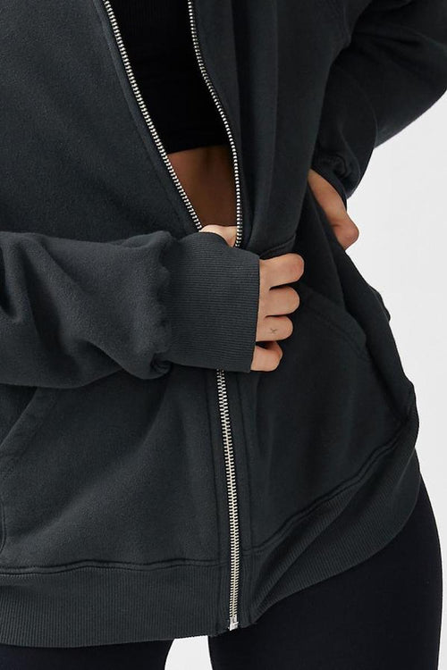 Empire Zip Hoodie - Charcoal French Terry - Joah Brown | INFLOWSTYLE