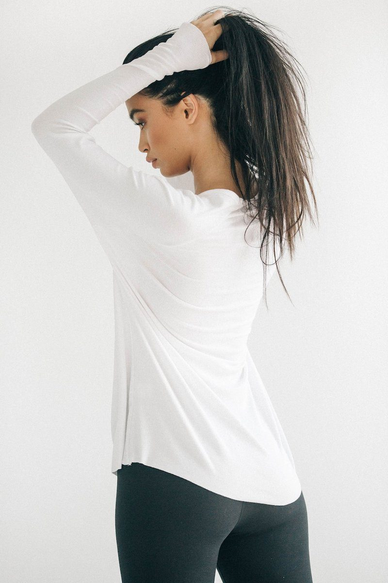 For Keeps V-Neck - White Rib - Joah Brown | INFLOWSTYLE