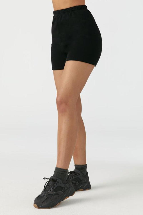 Fitted Sweat Short - Black French Terry - Joah Brown | INFLOWSTYLE
