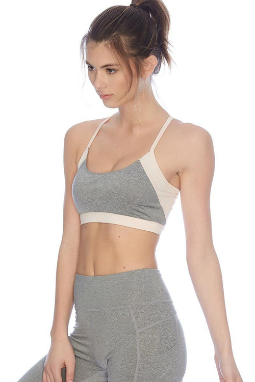 Sage Bra - Heather Grey/Blush - Vie Active | INFLOWSTYLE