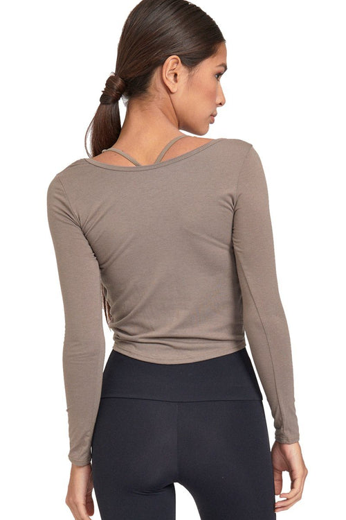 Long Sleeve Knot Crop - Dust