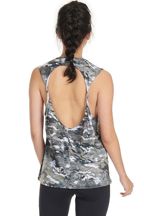 Twist Back Top - Marble Camo
