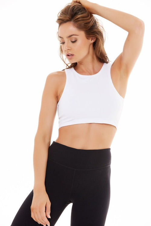 Muscle Crop - White Rib - Blue Life Fit | INFLOWSTYLE