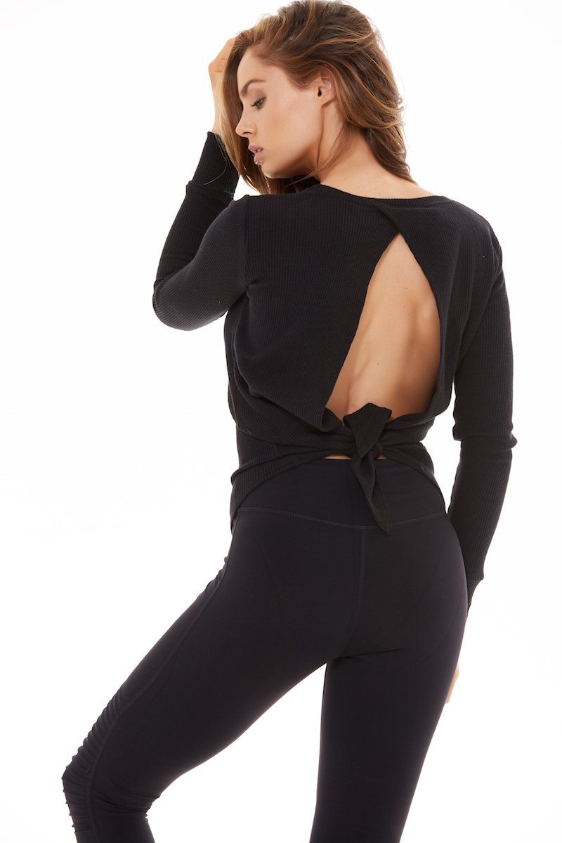 Open Back Long Sleeve - Black - Blue Life Fit | INFLOWSTYLE