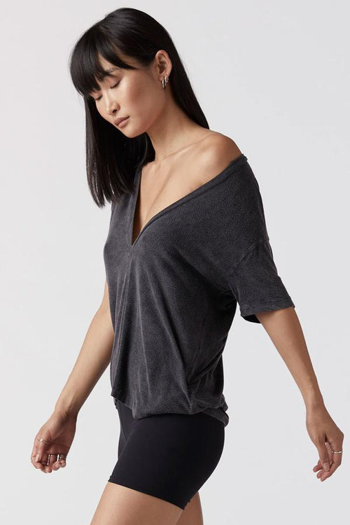 Plunge V Neck Tee - Wash Graphite
